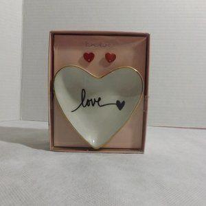 NEW Womens BeBe heart earrings + trinket tray